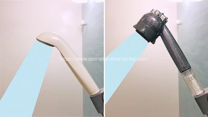 ミラブルキティと普通のシャワーの角度を比較